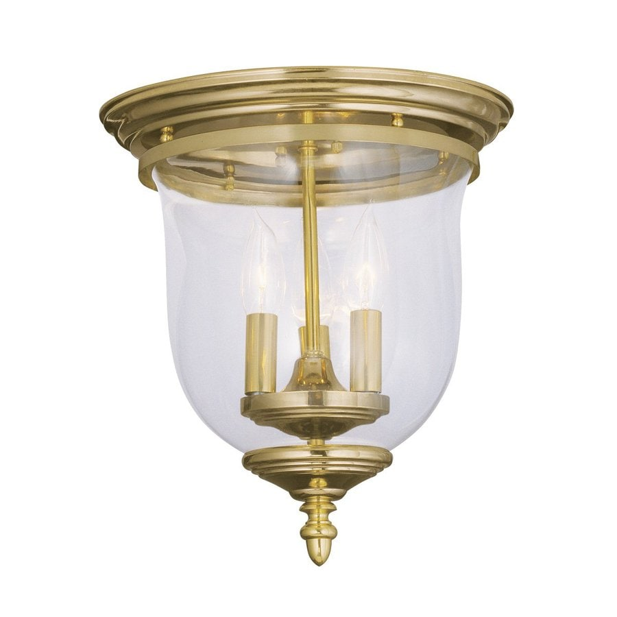 Livex Lighting Legacy 11.5-in W Polished Brass Ceiling Flush Mount Light