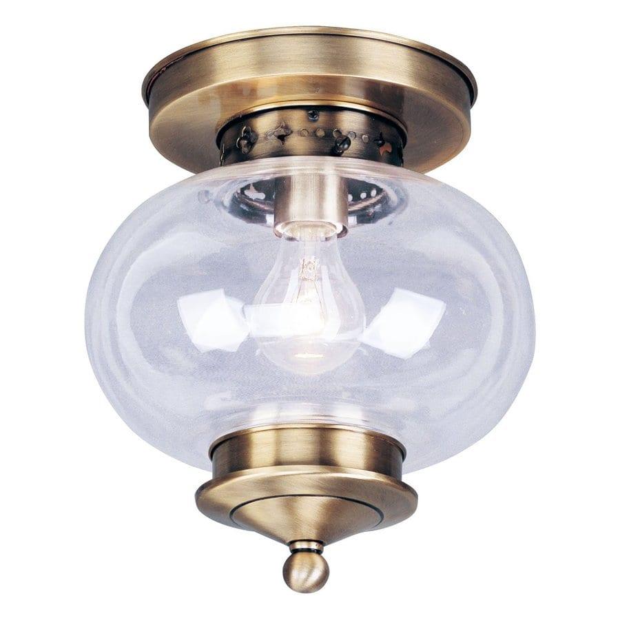 Livex Lighting Harbor 9.5-in W Antique Brass Ceiling Flush Mount Light