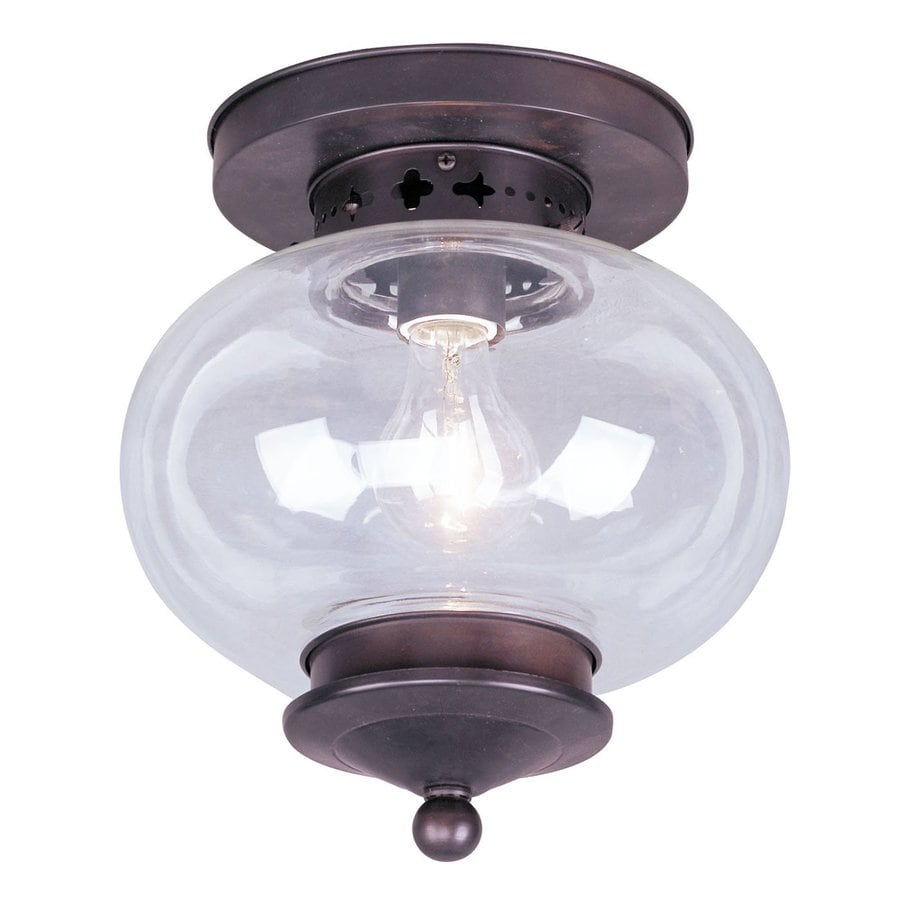 Livex Lighting Harbor 9.5-in W Bronze Ceiling Flush Mount Light