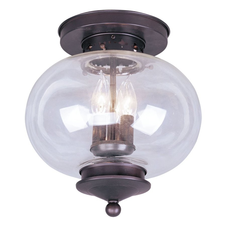 shop livex lighting harbor 11 in w bronze flush mount