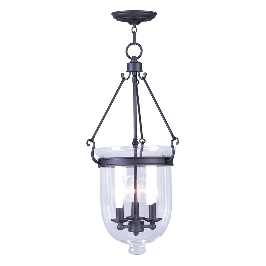 Livex Lighting Jefferson 12-in Bronze Vintage Single Seeded Glass Urn Pendant