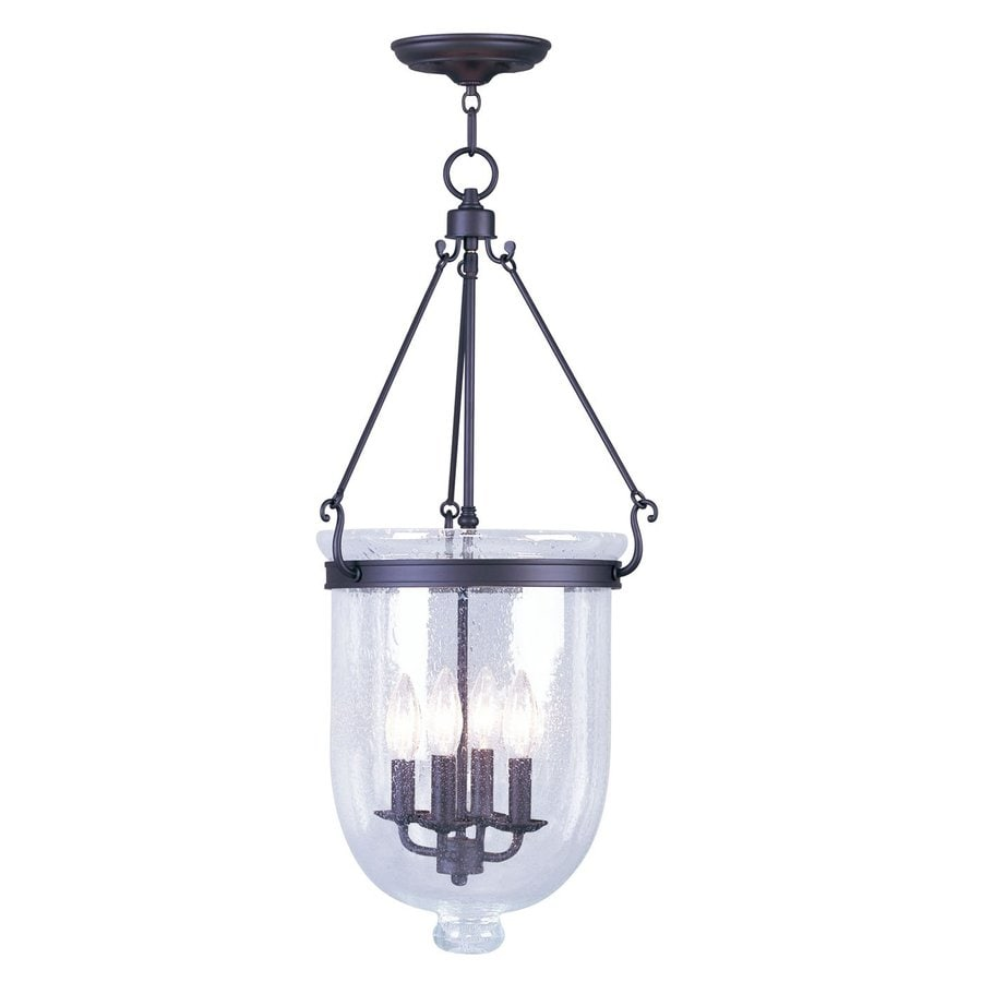 Livex Lighting Jefferson 14-in Bronze Vintage Single Seeded Glass Urn Pendant