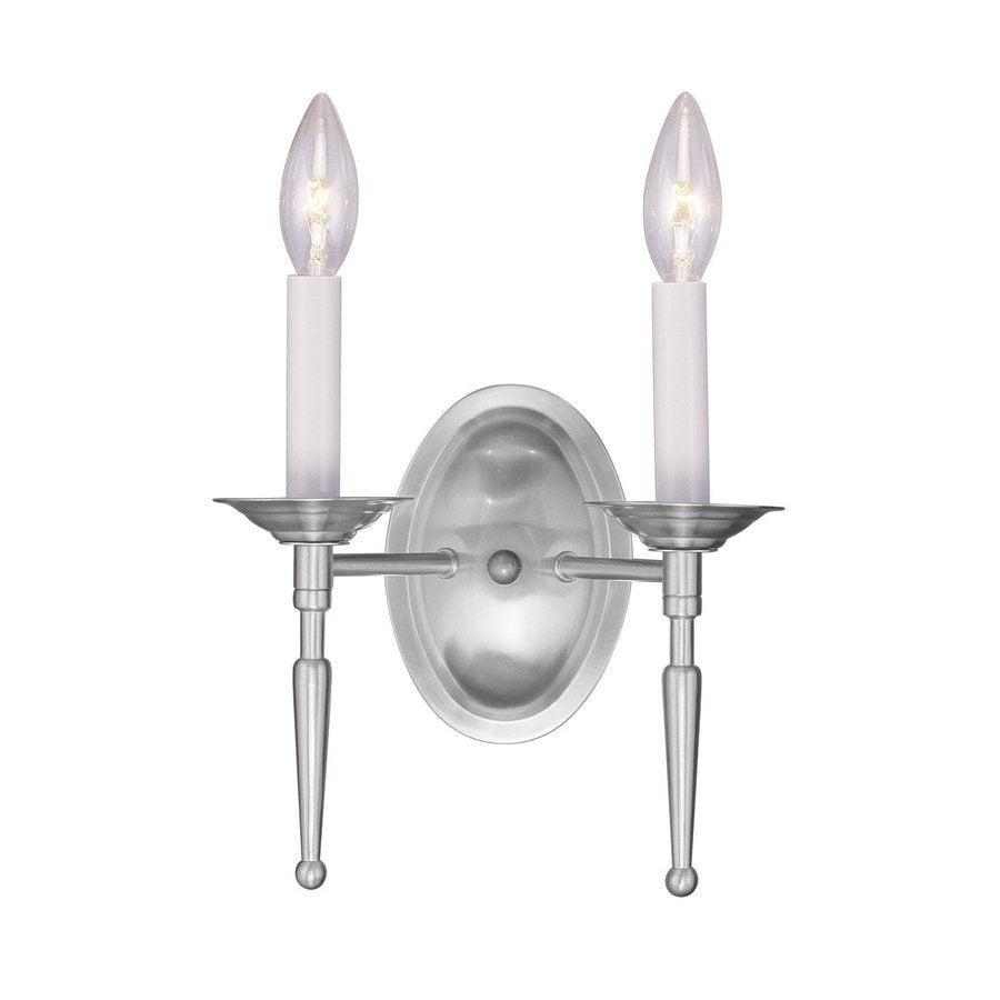 Shop Livex Lighting Williamsburg 11-in W 2-Light Brushed Nickel Candle Wall Sconce at Lowes.com
