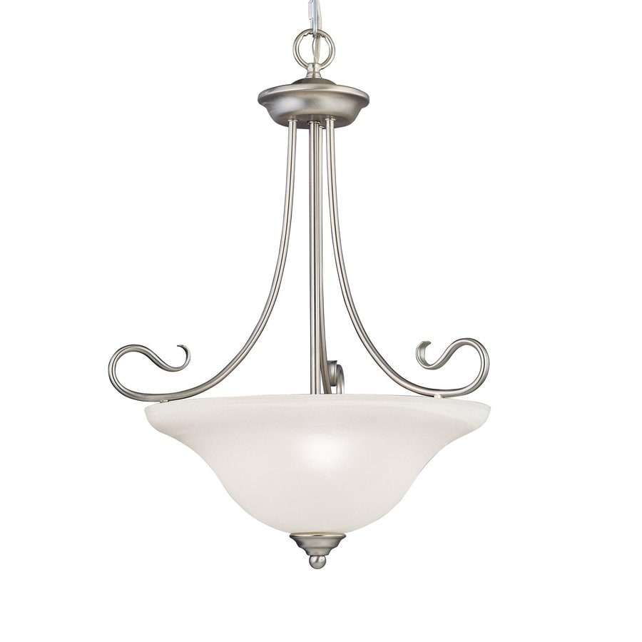 Livex Lighting Coronado 19.25-in Brushed Nickel Vintage Single Alabaster Glass Bowl Pendant