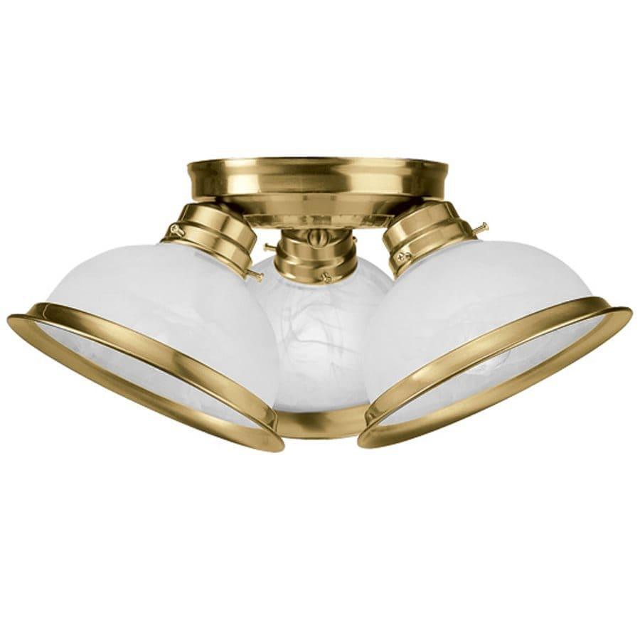 Livex Lighting Home Basics 16.5-in W Antique Brass Ceiling Flush Mount Light