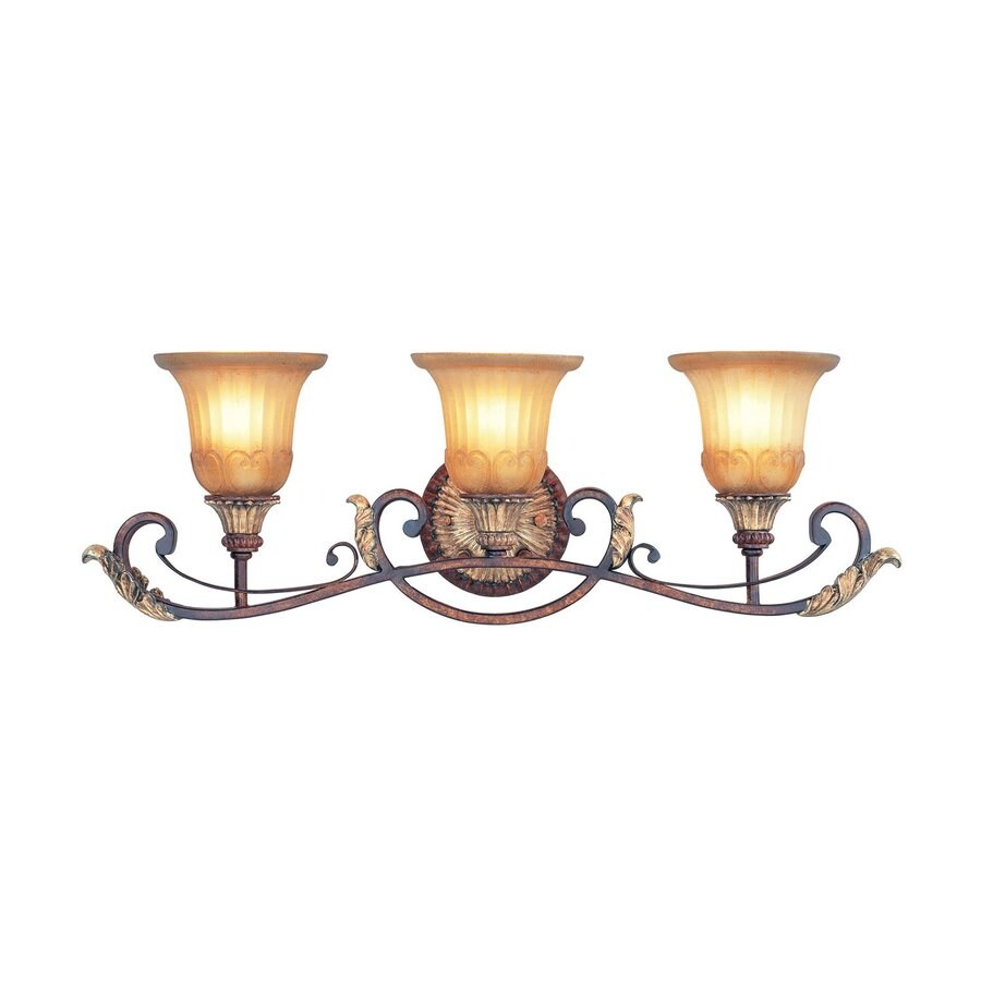 Livex Lighting Villa Verona 30-in W 3-Light Verona Bronze Vintage Arm Wall Sconce