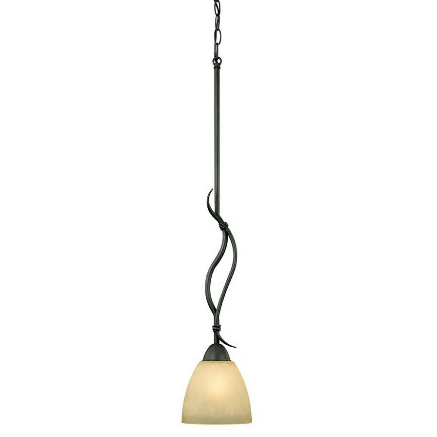 Thomas Lighting 6-in W Limestone Painted Bronze Mini Pendant Light