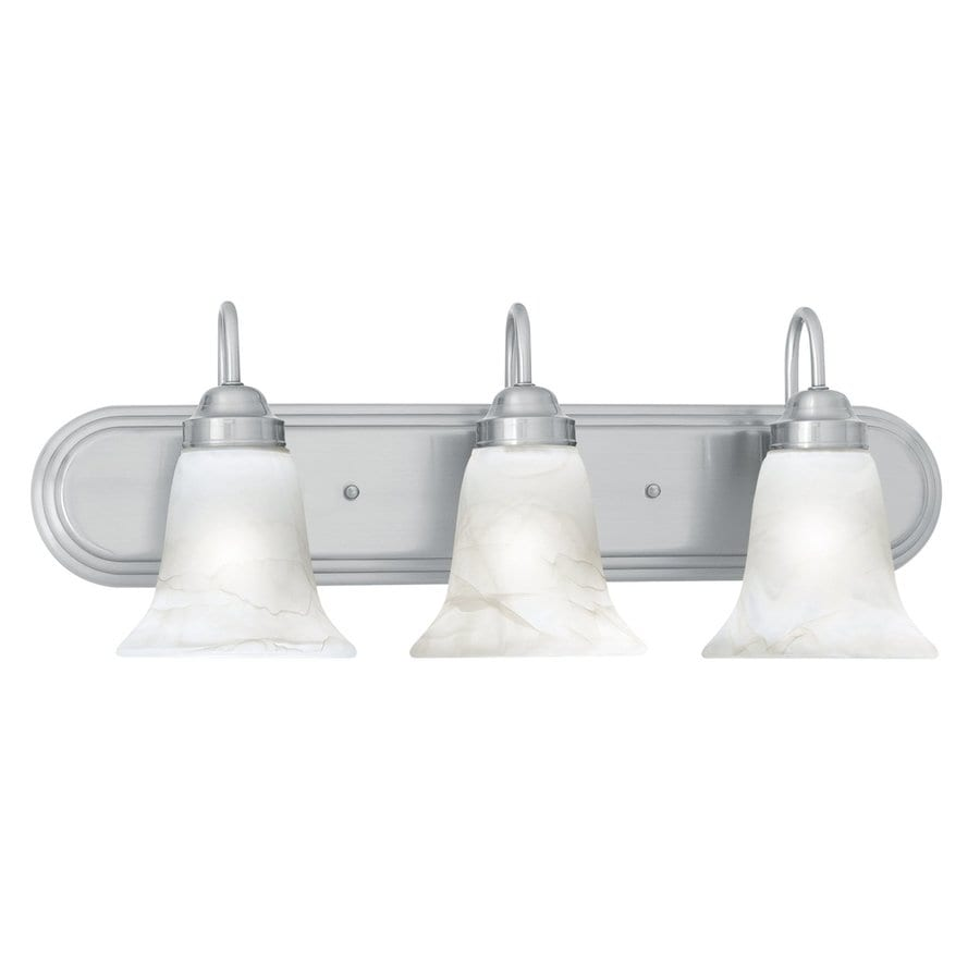 Vanity Lights In Brushed Nickel : Shop Thomas Lighting Homestead 3-Light 9-in Brushed Nickel Bell Vanity Light at Lowes.com