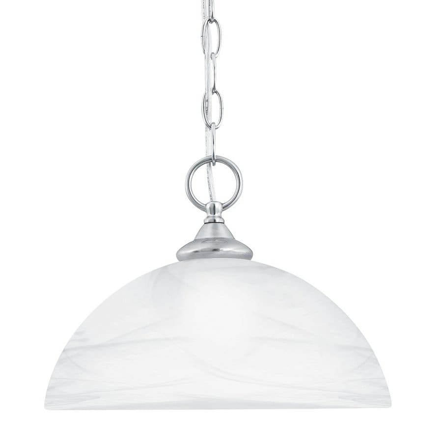 Thomas Lighting Tahoe 12-in Brushed Nickel Single Alabaster Glass Dome Pendant