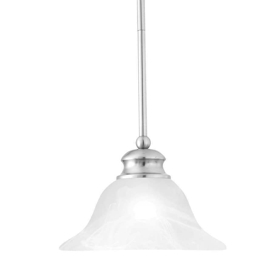 Thomas Lighting 9.5-in Brushed Nickel Mini Alabaster Glass Bell Pendant