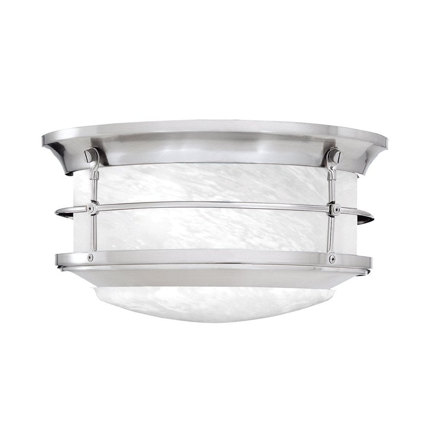 Shop outdoor flush mount lights at lowes thomas lighting 575 in w brushed nickel outdoor flush mount light workwithnaturefo