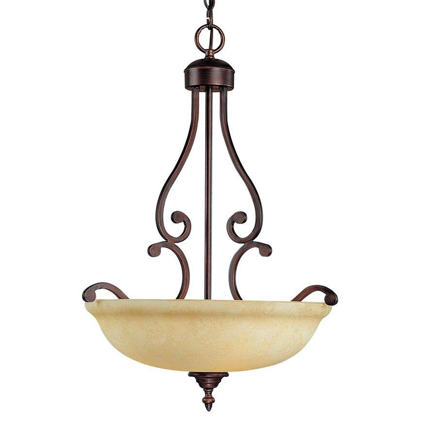 Millennium Lighting Courtney Lakes 18-in Rubbed Bronze Mediterranean Single Tinted Glass Bowl Pendant