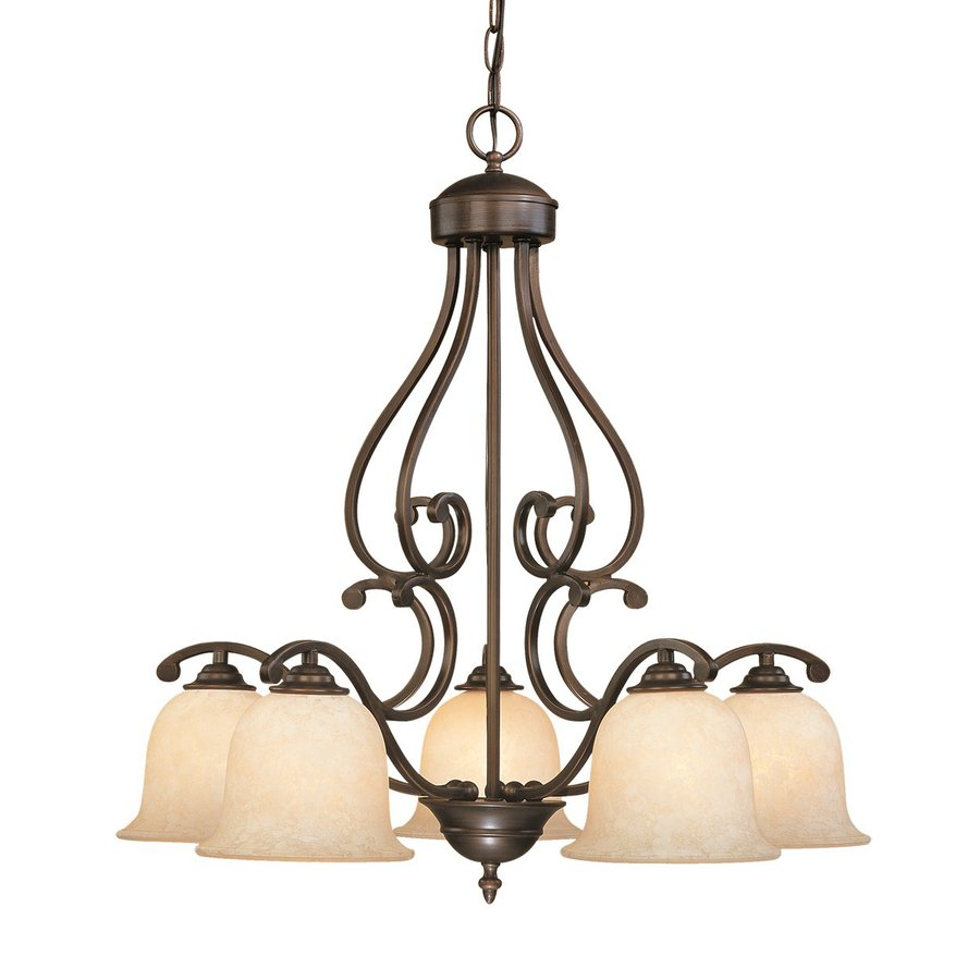 Millennium Lighting Courtney Lakes 27-in 5-Light Rubbed Bronze Mediterranean Scavo Glass Shaded Chandelier
