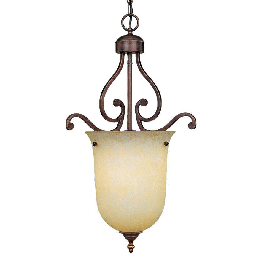 Millennium Lighting Courtney Lakes 16-in Rubbed Bronze Mediterranean Single Tinted Glass Urn Pendant
