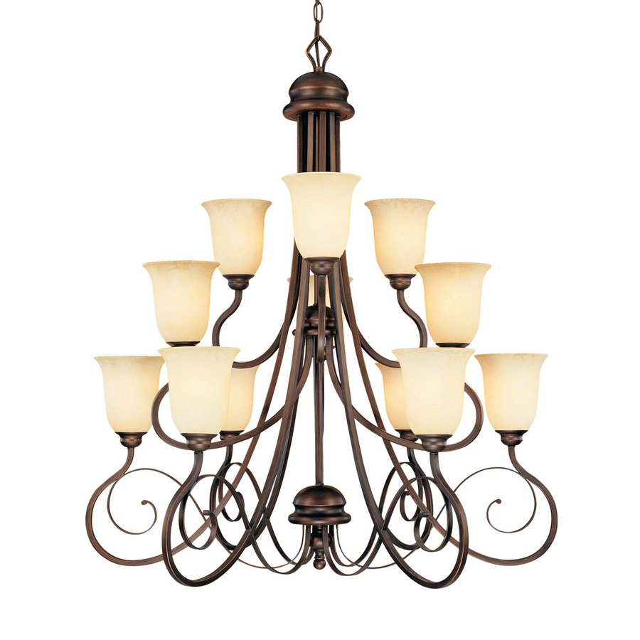 Millennium Lighting Chateau 36-in 12-Light Rubbed Bronze Mediterranean Scavo Glass Tiered Chandelier