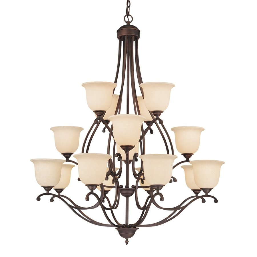 Millennium Lighting Courtney Lakes 40-in 16-Light Rubbed Bronze Mediterranean Scavo Glass Tiered Chandelier