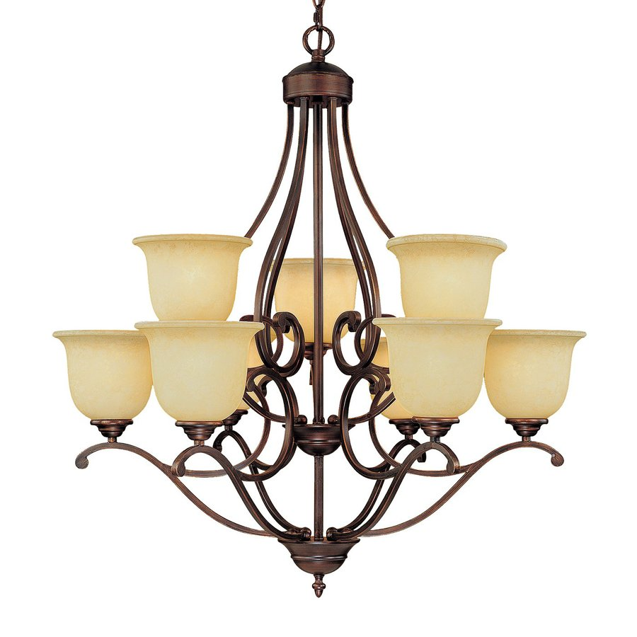Millennium Lighting Courtney Lakes 30-in 9-Light Rubbed Bronze Mediterranean Scavo Glass Tiered Chandelier