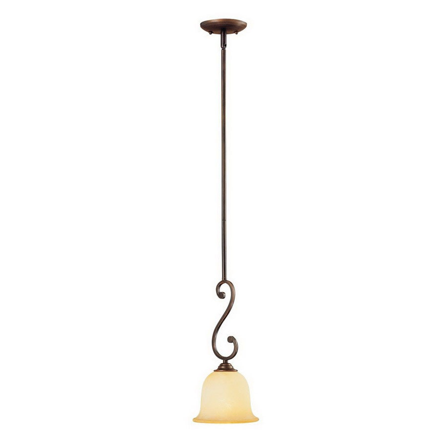 Millennium Lighting Courtney Lakes 7-in Rubbed Bronze Mediterranean Mini Tinted Glass Bell Pendant