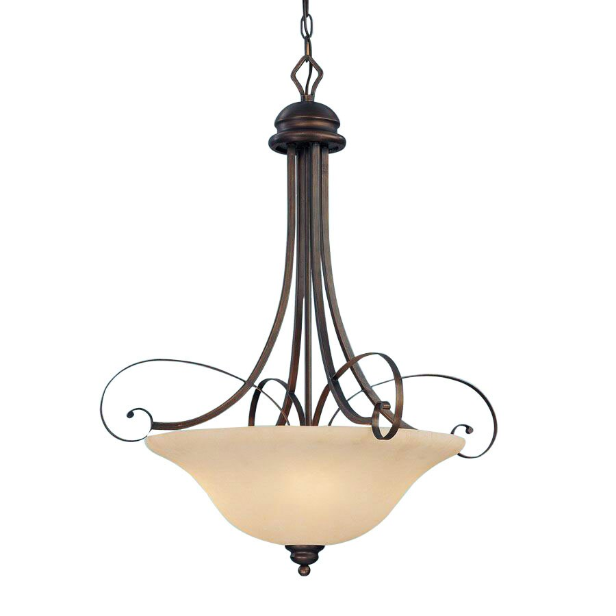Millennium Lighting Chateau 26-in Rubbed Bronze Mediterranean Single Tinted Glass Bowl Pendant