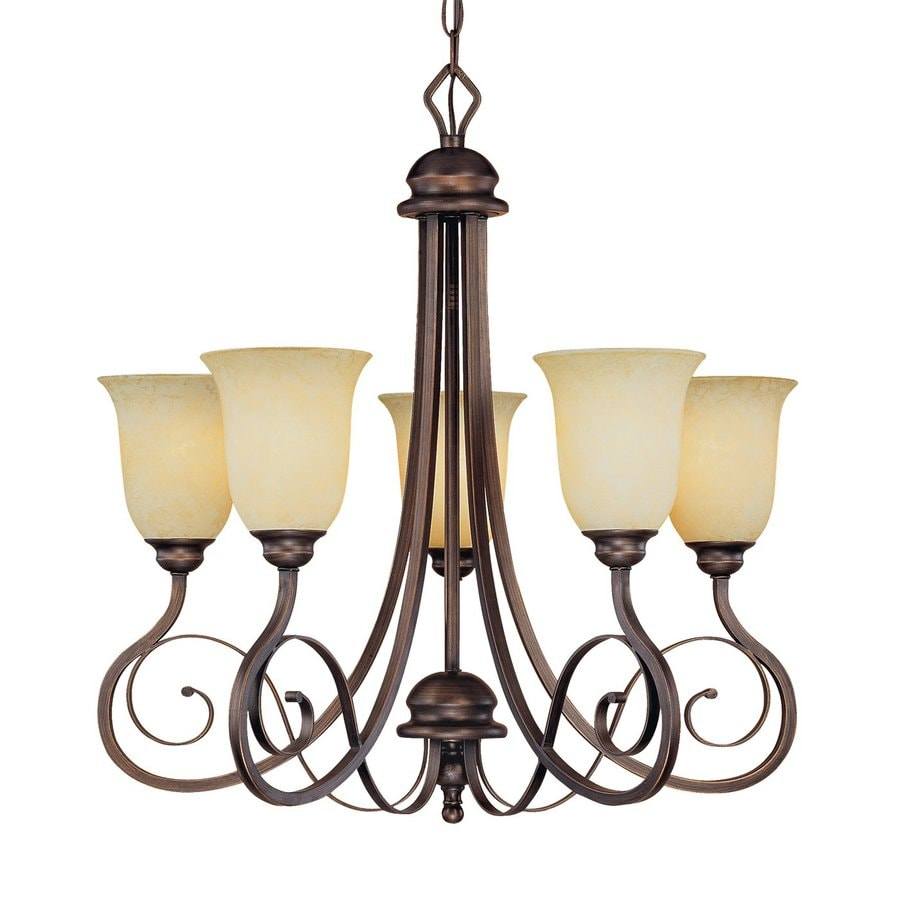 Millennium Lighting Chateau 25-in 5-Light Rubbed Bronze Mediterranean Scavo Glass Shaded Chandelier