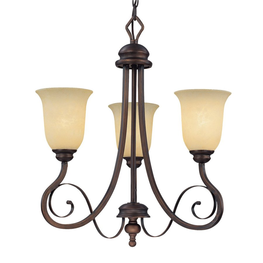 Millennium Lighting Chateau 21.5-in 3-Light Rubbed Bronze Mediterranean Scavo Glass Shaded Chandelier