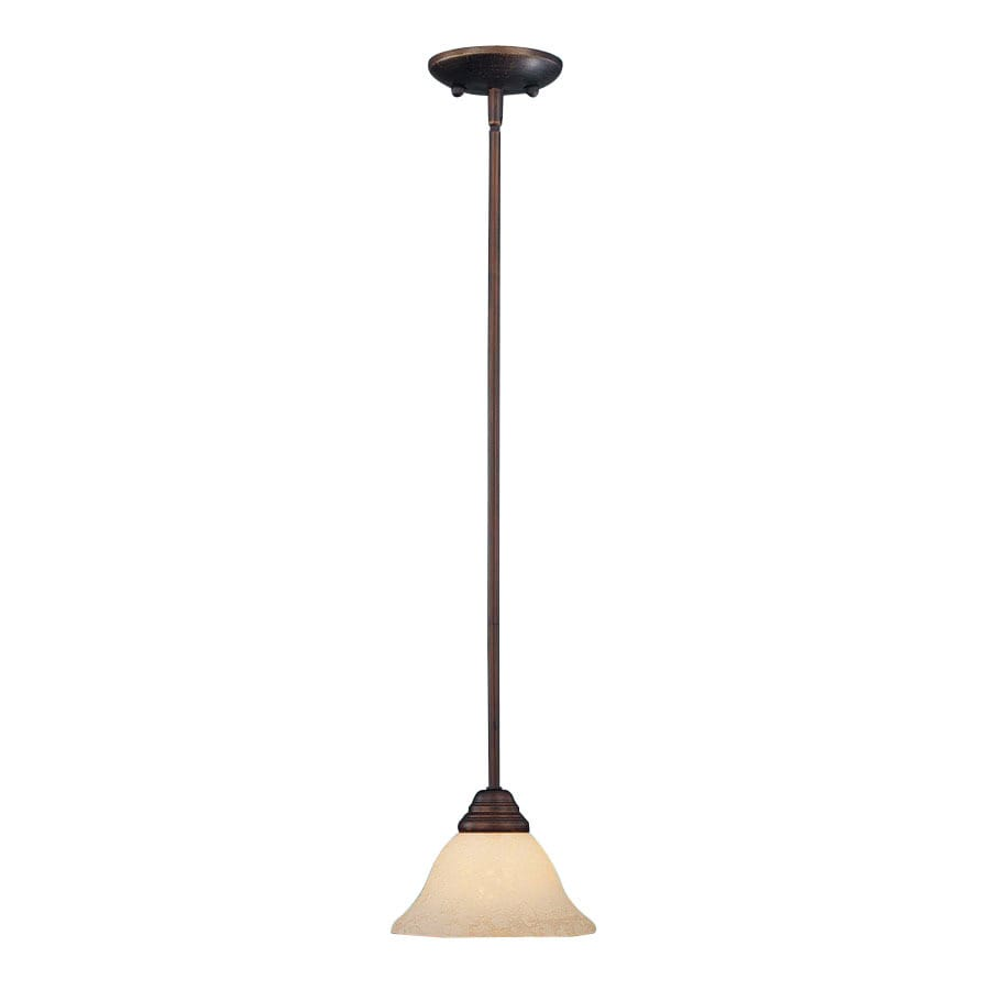 Millennium Lighting Fulton 7.5-in Rubbed Bronze Mediterranean Mini Tinted Glass Bell Pendant