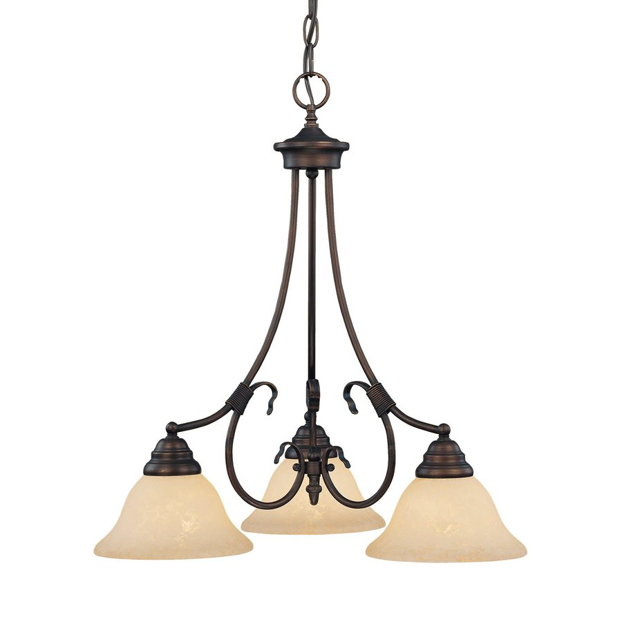 Millennium Lighting Fulton 21.5-in 3-Light Rubbed bronze Mediterranean Scavo Glass Shaded Chandelier