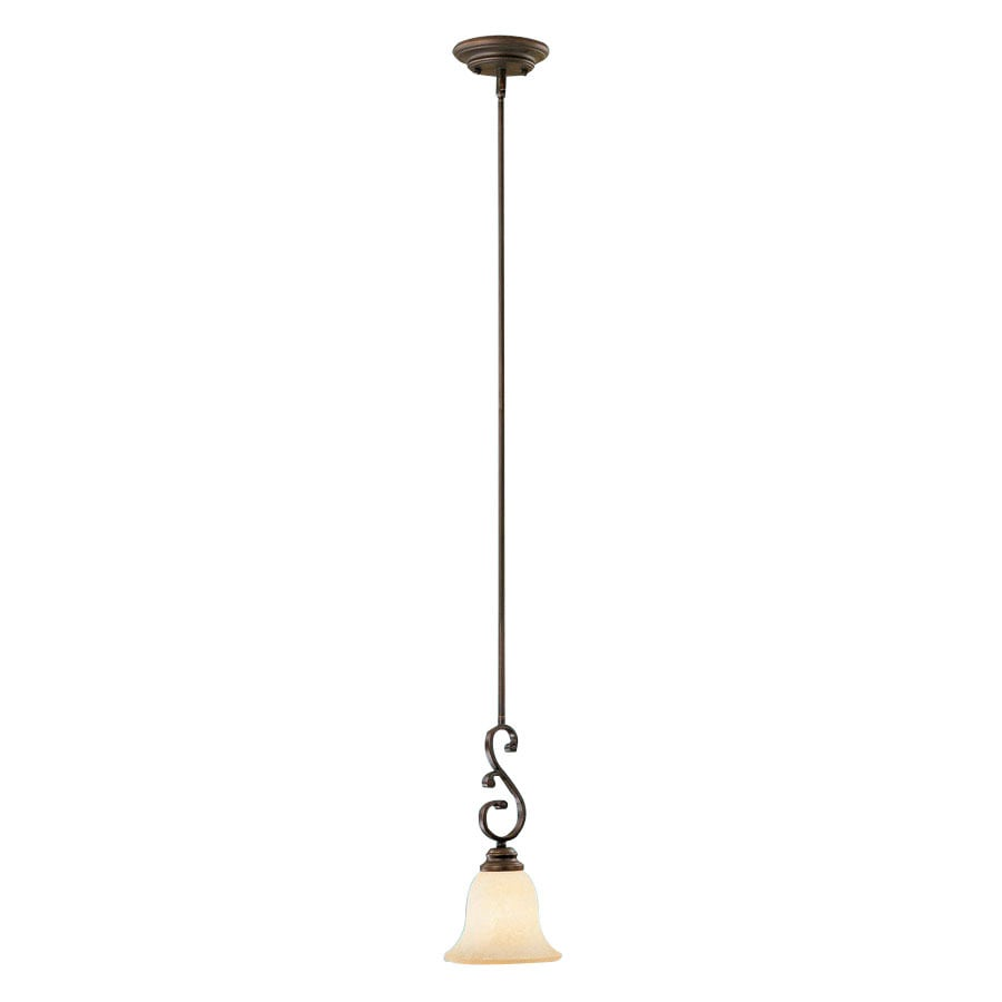 Millennium Lighting Oxford 5.5-in Rubbed Bronze Mediterranean Mini Tinted Glass Bell Pendant