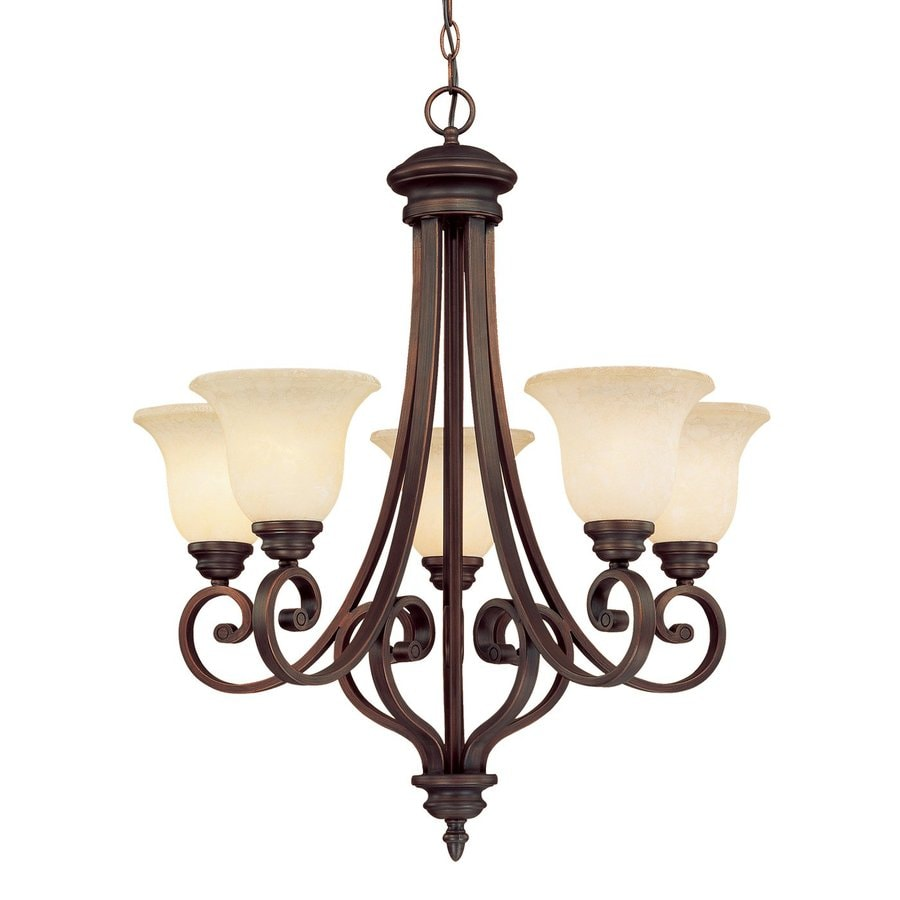 Millennium Lighting Oxford 27-in 5-Light Rubbed Bronze Mediterranean Scavo Glass Shaded Chandelier