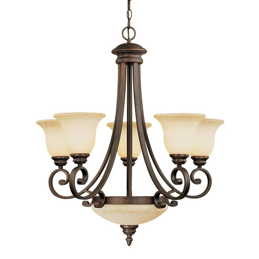 Millennium Lighting Oxford 7Light Rubbed Bronze Transitional Scavo Glass Shaded Chandelier at