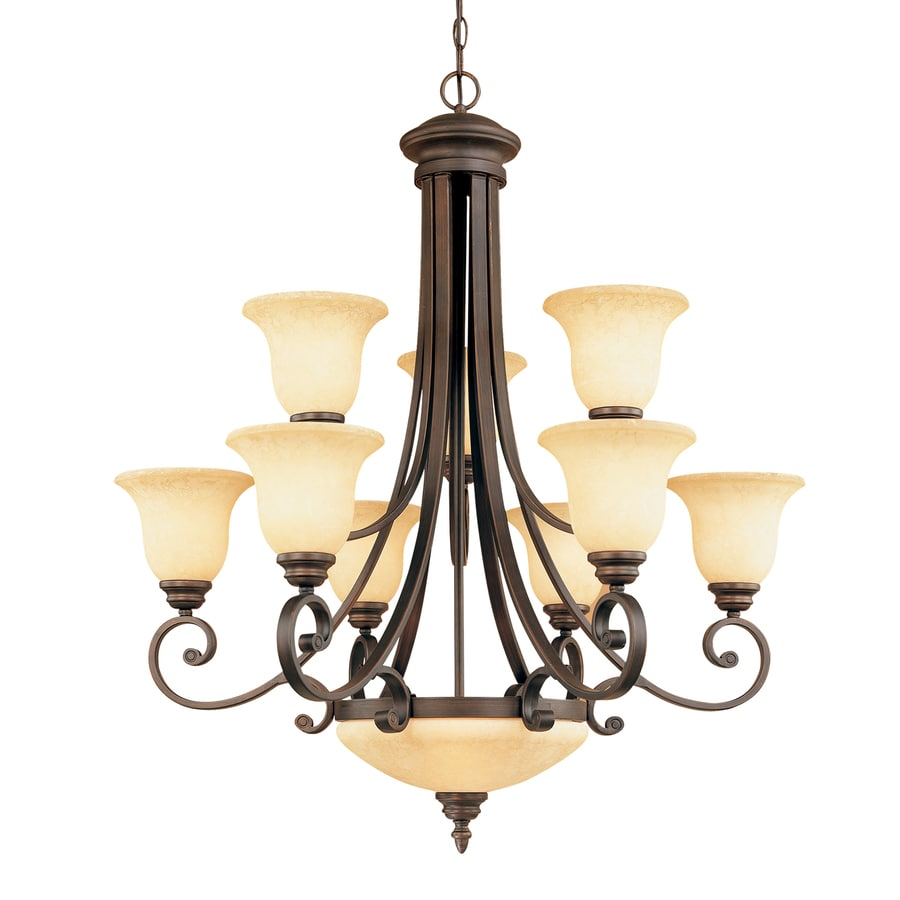 Millennium Lighting Oxford 33.5-in 11-Light Rubbed Bronze Mediterranean Scavo Glass Tiered Chandelier