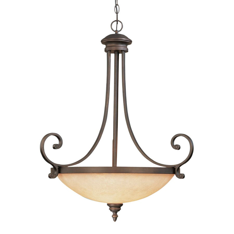 Millennium Lighting Oxford Bowl 26.75-in Rubbed Bronze Mediterranean Single Tinted Glass Bowl Pendant
