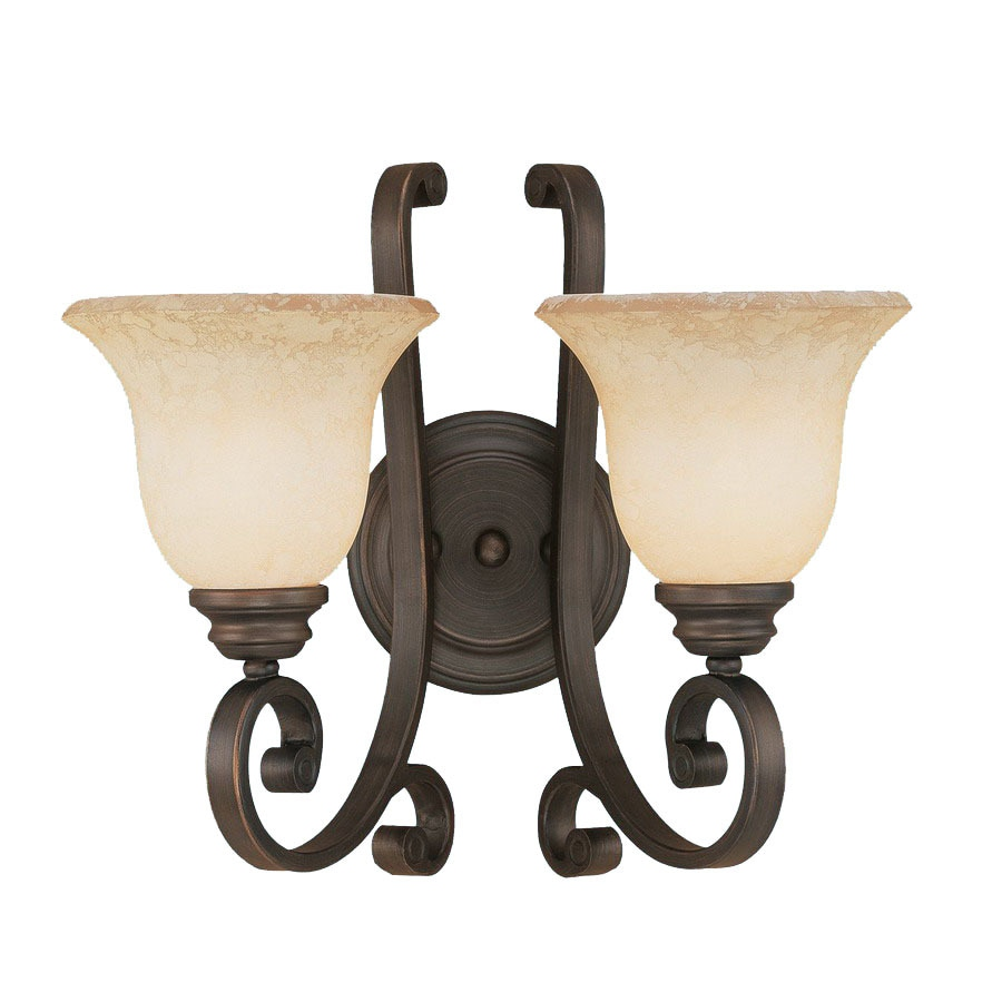 Millennium Lighting Oxford 15-in W 2-Light Rubbed Bronze Arm Hardwired Wall Sconce