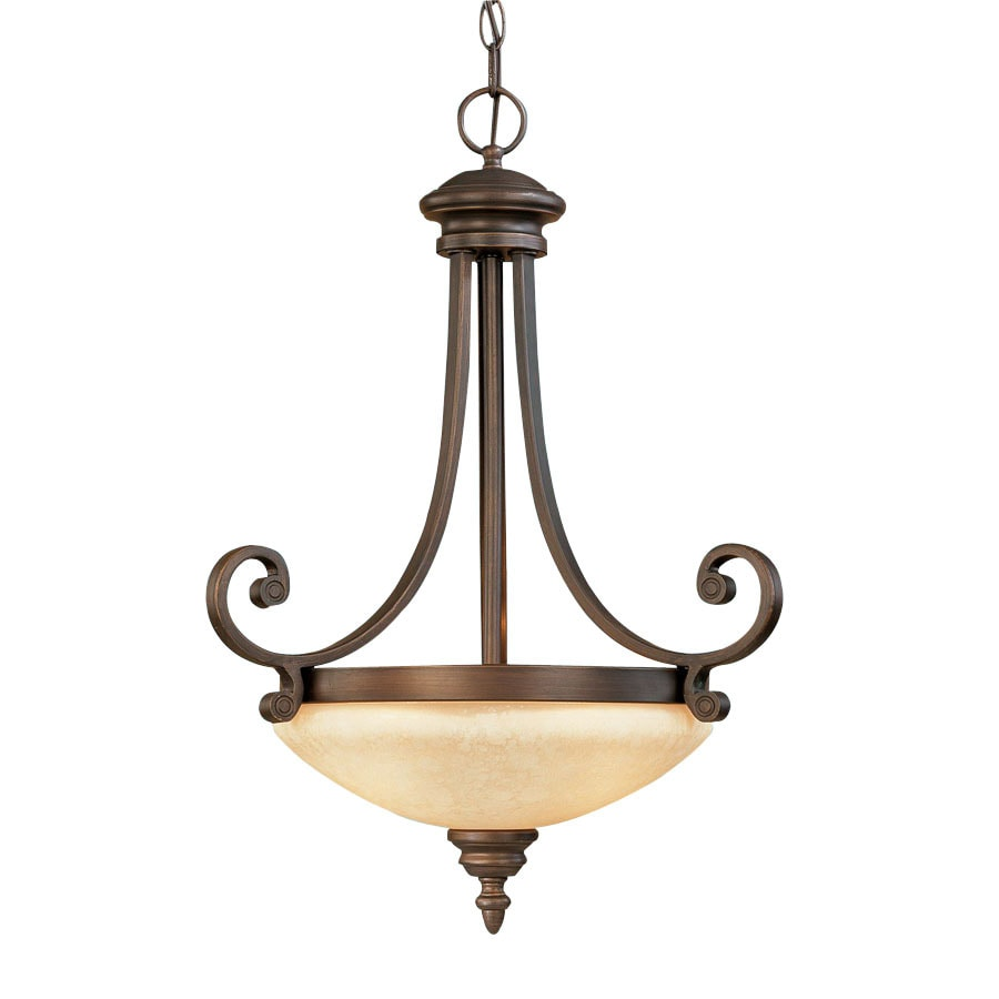 Millennium Lighting Oxford Bowl 17.5-in Rubbed Bronze Mediterranean Single Tinted Glass Bowl Pendant