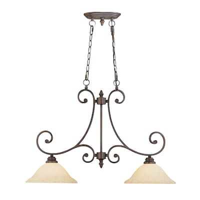 Oxford 31 In W 2 Light Rubbed Bronze Traditional Standard Kitchen Island Light With Tinted Shade