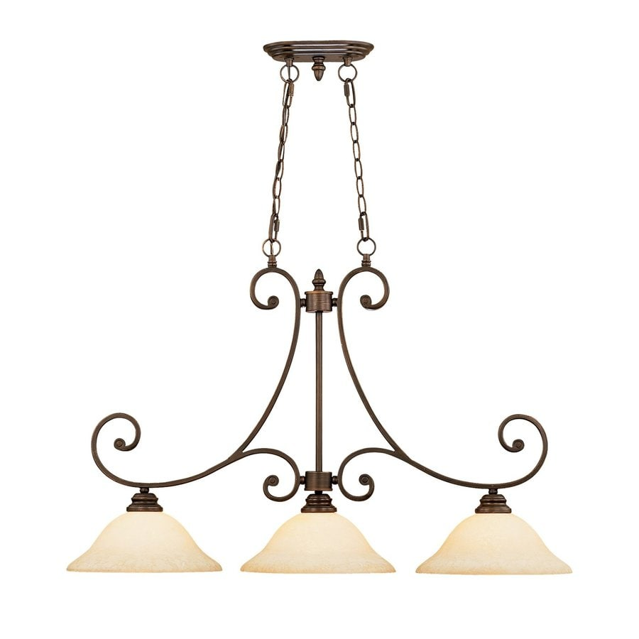 Shop millennium lighting oxford 3 light rubbed bronze for Kitchen pendant lighting island