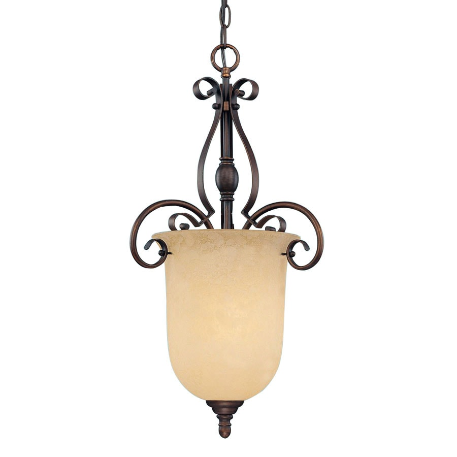 Millennium Lighting Auburn 14.5-in Rubbed Bronze Mediterranean Single Tinted Glass Urn Pendant