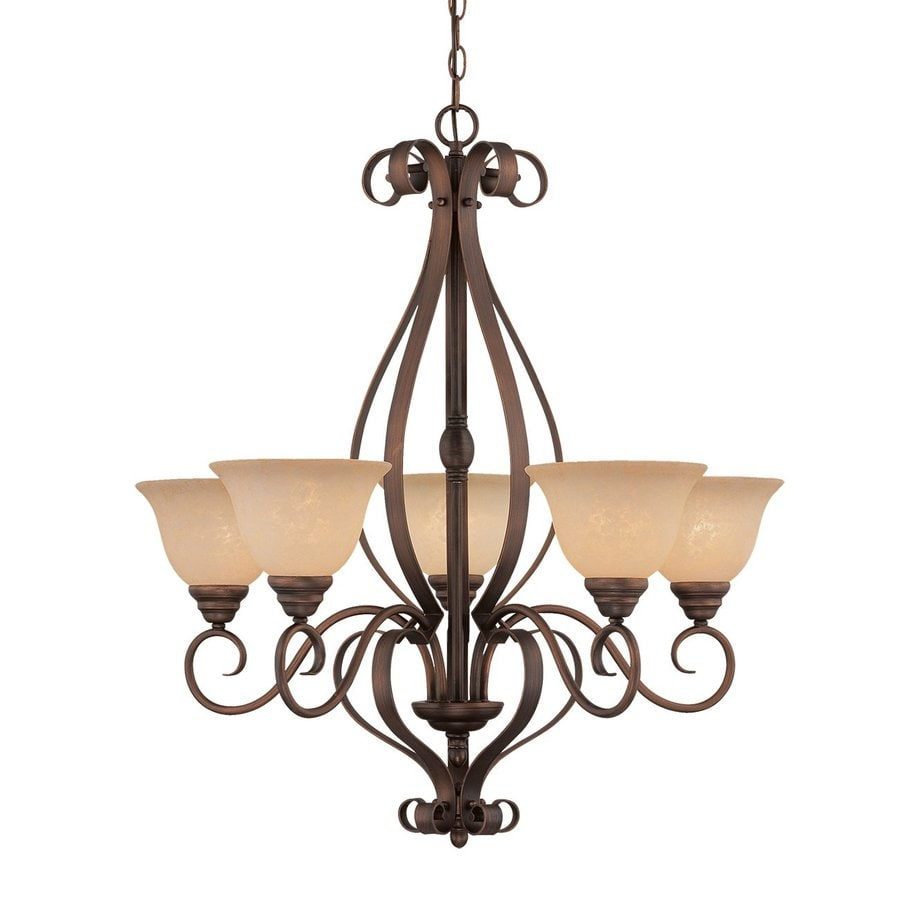 Millennium Lighting Auburn 29-in 5-Light Rubbed Bronze Mediterranean Scavo Glass Shaded Chandelier