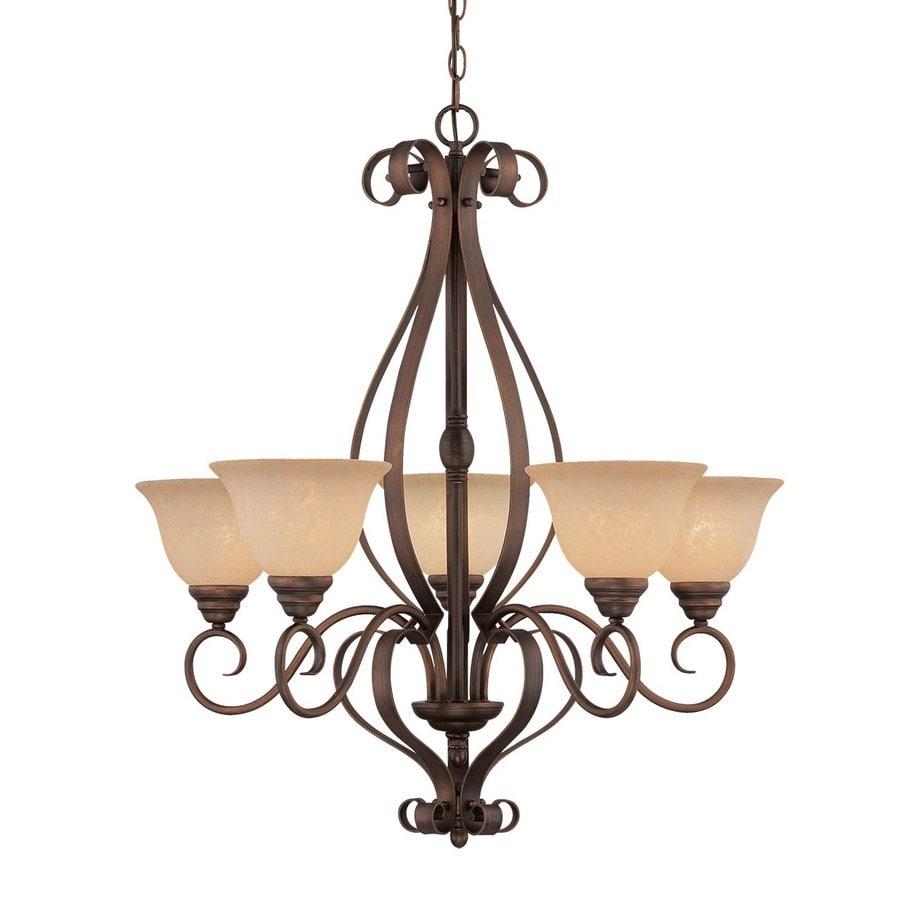 Millennium Lighting Auburn 29-in 5-Light Rubbed bronze Mediterranean Scavo Glass Shaded Chandelier
