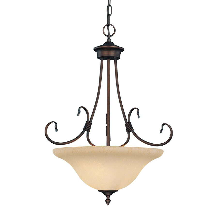 Millennium Lighting Fulton 19-in Rubbed Bronze Mediterranean Hardwired Single Tinted Glass Bowl Standard Pendant