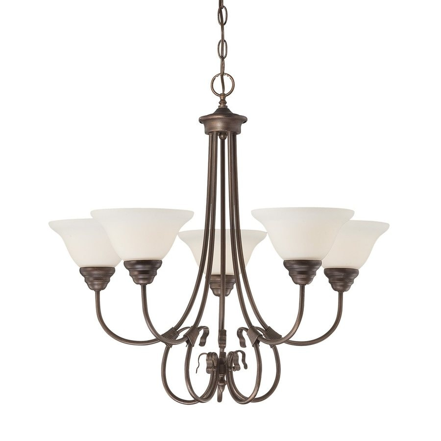 Millennium Lighting Fulton 25-in 5-Light Rubbed Bronze Etched Glass Shaded Chandelier