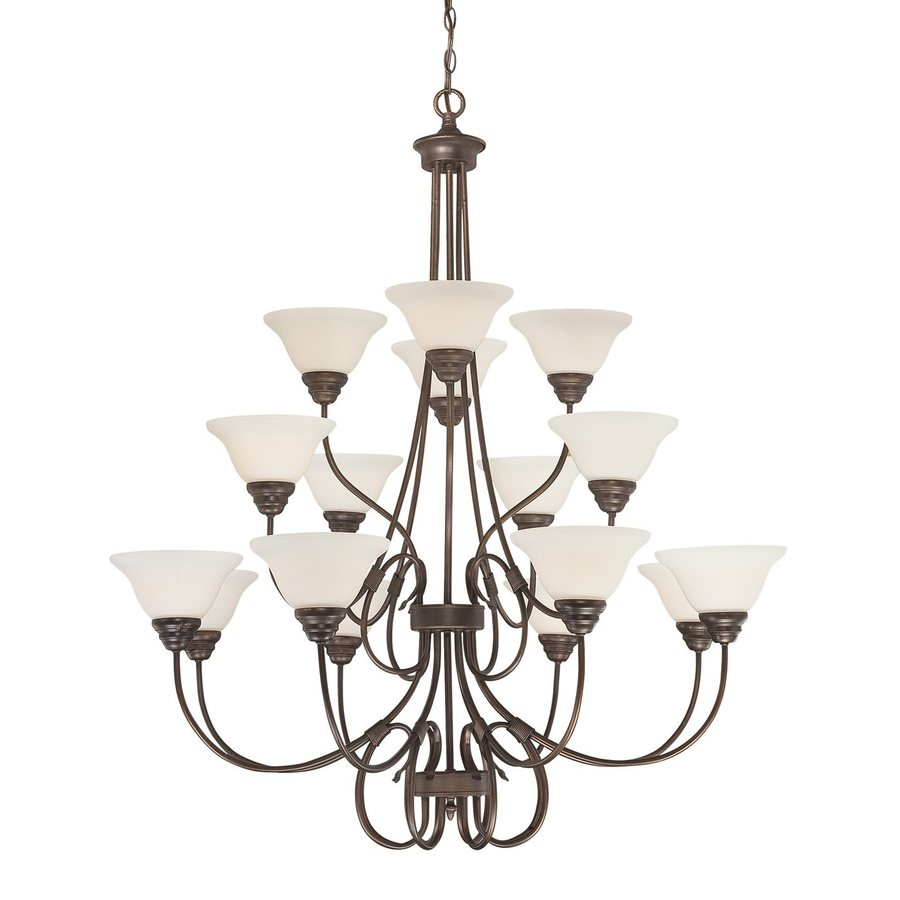 Millennium Lighting Fulton 46-in 16-Light Rubbed bronze Etched Glass Tiered Chandelier