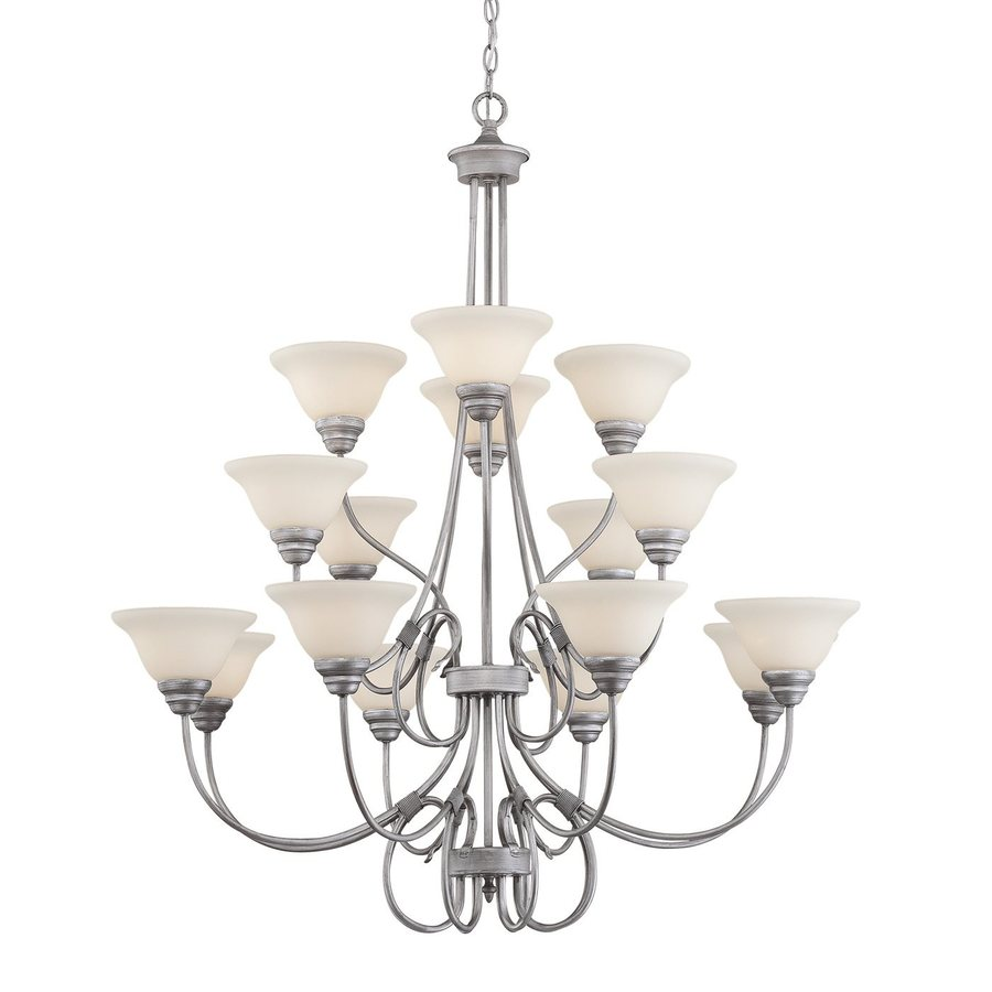 Millennium Lighting Fulton 46-in 16-Light Rubbed Silver Etched Glass Tiered Chandelier