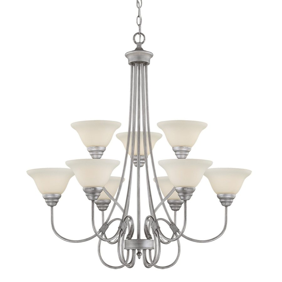 Millennium Lighting Fulton 33-in 9-Light Rubbed silver Etched Glass Tiered Chandelier