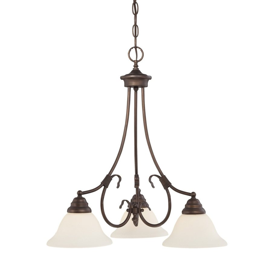 Millennium Lighting Fulton 21.5-in 3-Light Rubbed Bronze Etched Glass Shaded Chandelier