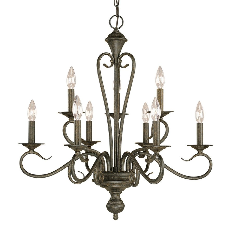Millennium Lighting Devonshire 25.5-in 9-Light Burnished gold Vintage Candle Chandelier