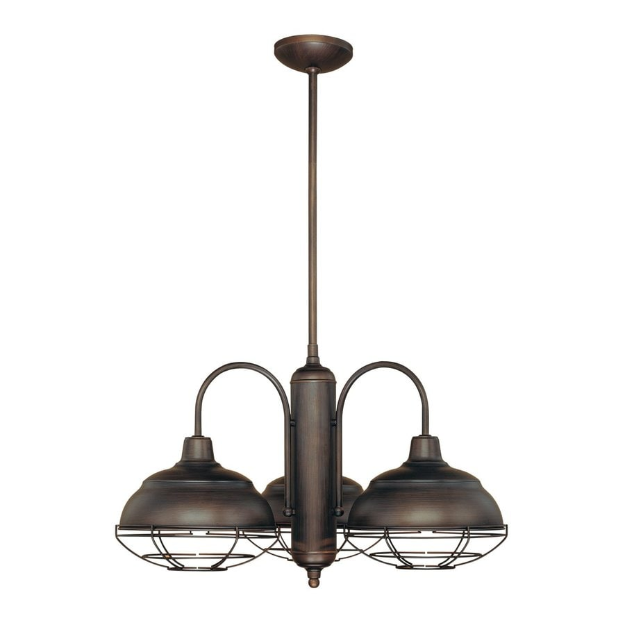 Millennium Lighting Neo-Industrial 27-in 3-Light Rubbed bronze Industrial Shaded Chandelier