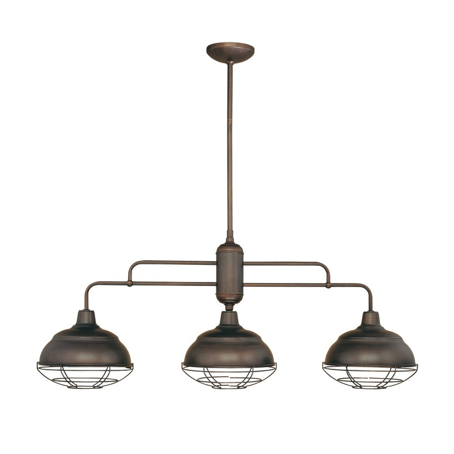 light rubbed bronze kitchen island light with metal shades at lowes
