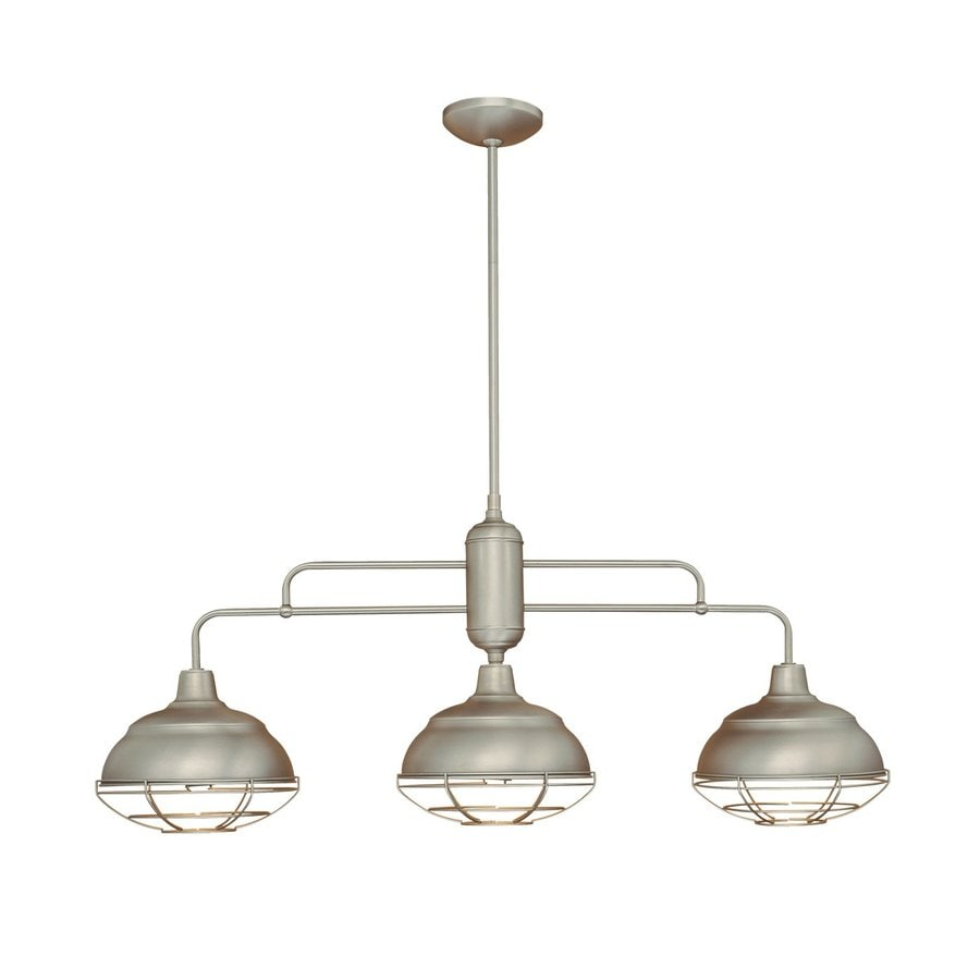 Millennium Lighting Neo-Industrial 10.25-in W 3-Light Satin Nickel Kitchen Island Light with Metal Shades