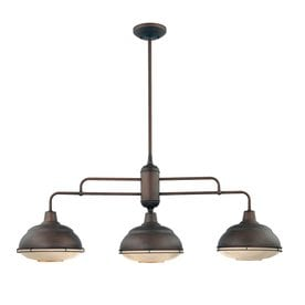 Millennium Lighting Neo Industrial 3 Light Rubbed Bronze Kitchen Island  Light With Metal Shades